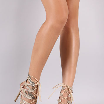 Liliana Crinkled Strappy Lace-Up Stiletto Heel