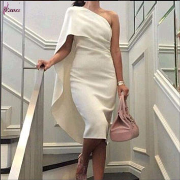 Saudi Arabia dress 2015 New Robe De Cocktail Custom Made Sheath One Shoulder Party Cocktail Dresses