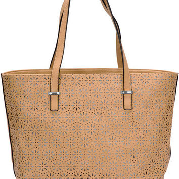 "Alex Tote in Tan - 17"" x 11"" Laser Cut Leather Purse/Handbag"
