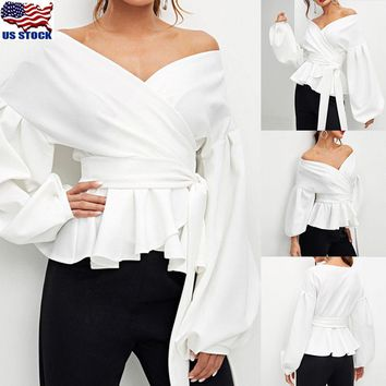 Womens Long Sleeve Bandage Blouse Casual Ruffle V Neck Tie Waist T Shirt Tops US
