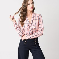 Mauve Pink & Navy Checkered Long Sleeve Woven Blouse