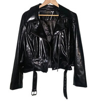 Vintage Black PVC Jacket Vegan Leather Moto Pockets with Zippers and buttons Belted Soft Grunge Punk Goth Cyber Goth Size 14 Medium Large