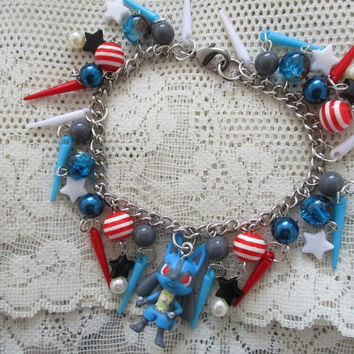 Pokémon Charm Bracelet - LUCARIO bracelet - Upcycled Pokemon Time figure