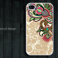unique iphone cases beautiful  iphone 4 case iphone 4s case iphone 4 cover  illustration classic red green flowers design printing