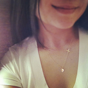 Personalized Gold Filled Sideways Cross and Initial Necklace - Everyday Jewelry - All 14k Gold Filled