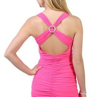 ruched tight club dress with criss cross back accented by stone ring