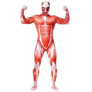 Cool Attack on Titan High Quality  Adult Men's Halloween Muscle Lycra Zentai Cosplay Costumes No  Male Costume Bodysuit AT_90_11