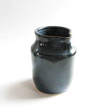 Small Creamer or Syrup Pitcher, Small Ceramic Pitcher, Denim Blue
