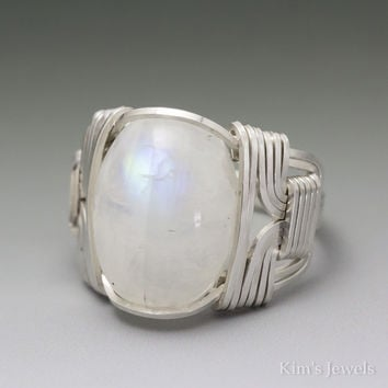 Rainbow Moonstone Cabochon Sterling Silver Wire Wrapped Ring