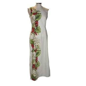 KY's White 100% Cotton Long Tank Aloha Dress with Red Anthurium and White Hibiscus