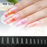 Curved Nail Tips Completely Bend Salon Faux Ongles French Manicure Nail Art Deep Smile Line Fake Nail Tips With Free 50PCS