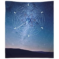 Meteor Shower Mandala Stars Tapestry Wall Hanging Meditation Yoga Hippie Blue