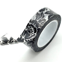Washi Tape Paper Masking Tape - Black Peony Flower