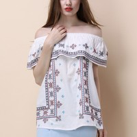 Folksy Cross-stitch Off-shoulder Top in White