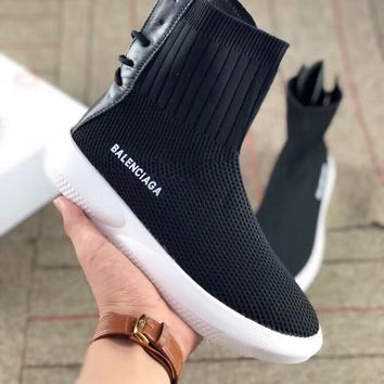 Balenciaga Fashion Woman Comfortable High Top Knit Breathable Sneakers Running Shoes Black I-AA-SDDSL-KHZHXMKH
