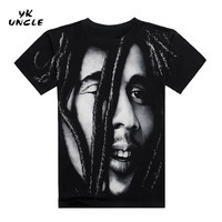 YK UNCLE Brand 2017 BOB MARLEY T shirts 3D Ful Printed Famous Design For Man Tees Heavy Metal Rock Band T-shirts For Freedom