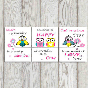 You are my sunshine Owl nursery decor Little girls bedroom Pink teal turquoise yellow gray Owl nursery art Nursery quote Set of 3 DOWNLOAD