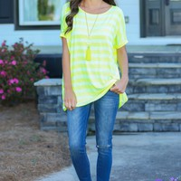 Piko Across The Line Highlighter Striped Top