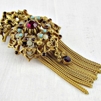 Vintage FLORENZA Brooch Pin, Ornate Gold, White Opals, Ruby Red Rhinestones, Turquoise Beads, Gold Tassel, 1960s Victorian Revival Jewelry