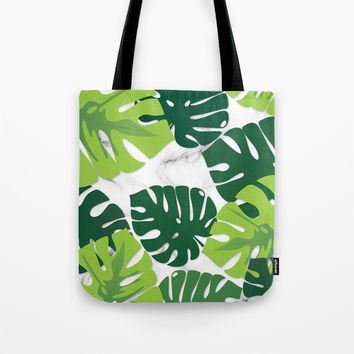Monstera Marble Tote Bag by littlebiscuit