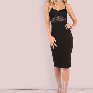 Lace Applique Bodycon Dress BLACK | MakeMeChic.COM