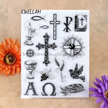 Cross Bible Candle Grape Scrapbook DIY photo cards account rubber stamp clear stamp transparent stamp 14x18cm KW7041402