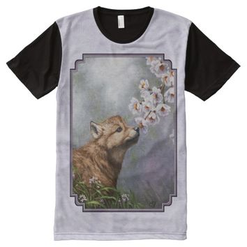 Wolf Pup and Flowers All-Over Print T-shirt