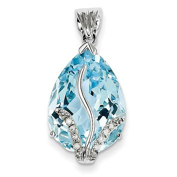 14k White Gold 14ct Pear Swiss Blue Topaz and Diamond Pendant