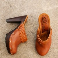 cognac brown clogs with antique gold studding and braided strap  | shopcuffs.com