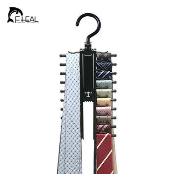 FHEAL Novelty Rotatable 20 Row Multifunction Tie Rack Belt Rack Neckties Hanging Neckties Rack Convenient Indoor Hanger Holder