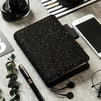 Black Wool Notebook Cover