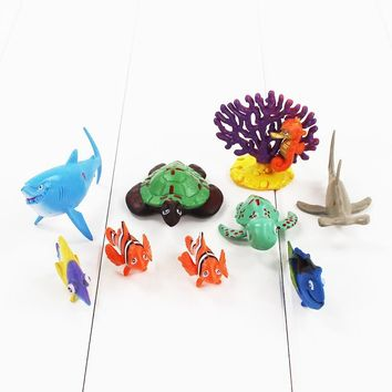 10pcs/lot 2-5cm Finding Nemo action figure model toy Nemo Marlin clownfish Dory fish Bruce shark Crush sea turtle coral Hank toy