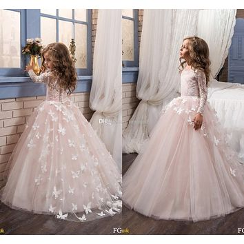 Blush Pink Long Sleeve Flower Girl Dresses for Wedding 3D Flowers Ball Gown 2017 Little Girls Communion Party Pageant Dress F44