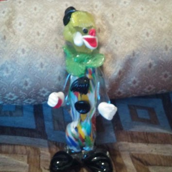 Colorful Murano Glass Clown Figurine Made in Italy - Art Glass, Murano Art Glass