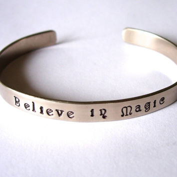 BELIEVE IN MAGIC Inspirational Hand Stamped and Hammered Bracelet