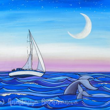 Sunset Sail Original Acrylic Painting