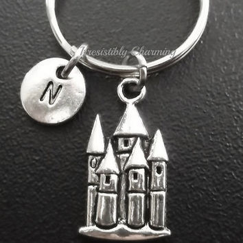 Castle keyring, keychain, bag charm, purse charm, monogram personalized custom gifts under 10 item No.613