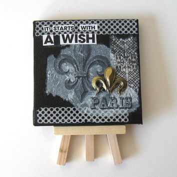 SALE, Paris Frig Magnet,  Miniature Mixed Media Greeting Card, Painting, Mini Canvas, Original Miniature painting, Home Decor Fleur de Lis