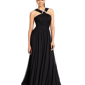 Alex Evenings Sleeveless Jewel Halter Gown