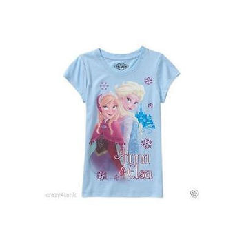 Frozen Family Anna  Elsa Girls Graphic Tee, Light Blue, Size Xl 14/16 Disney
