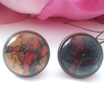 Deadly Merc Stud Earrings - Studs - Earrings - Stud Earrings - Earring Studs - Fake Plugs - Plugs - Faux Plugs - Comic Book Earrings Jewelry