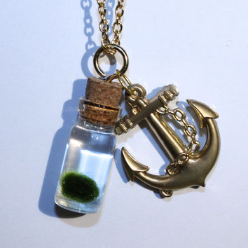 gold anchor charm with nano MARIMO moss ball jar necklace
