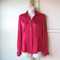 Dark Lipstick Red Silk Blouse; Women's Small Long-Sleeved Drapy Date/Career/Party Top; U.S. Shipping Included