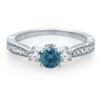 Helzberg Diamond Symphonies® 7/8 ct. tw. Blue & White Diamond Engagement Ring in 14K Gold - Shop All Engagement & Wedding - Engagement & Wedding - Helzberg Diamonds