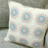 Radham CUSHION - Crochet Pillow - Turquoise  & Light Pink Color - Handmade Cushion Cover - 16 x 16 inches