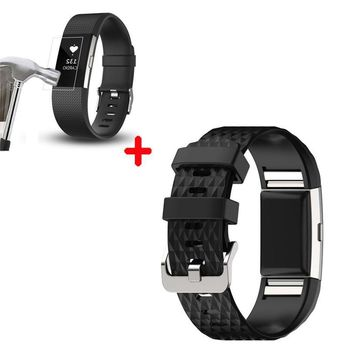 Replacement New Fashion Sports Silicone Bracelet Strap Band + HD Film For Fitbit Charge 2 NOV23