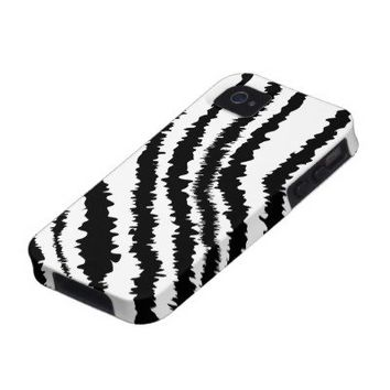 Black Zebra Print Pattern. iPhone 4 Case from Zazzle.com