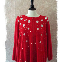 Cathy Daniels Beaded Red Cardigan Sweater Plus Size 1X Womens 14 16