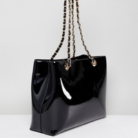 Valentino by Mario Valentino Patent Black Tote Bag at asos.com