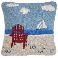 Evening Sail Hooked Pillow 18ʺL X 18ʺW